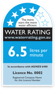 Water rating label shows a four out of six star rating and 6.5 litres per minutes water consumption for a new showerhead